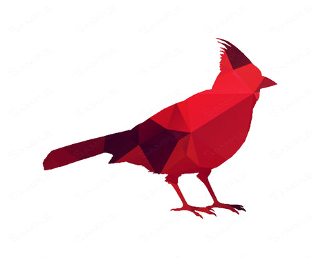 Geometric Red Cardinal Bird Wall Art Print. Bird Home Decor Wall Art 8 x 10 Print