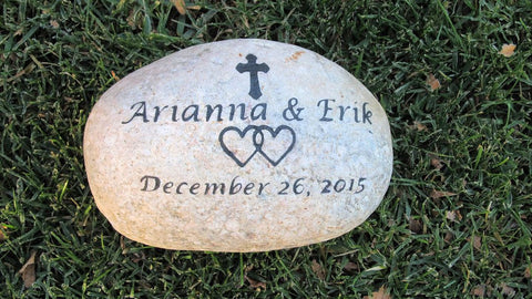 Wedding Oathing Stone 11-12 Inch Garden Stone Marker With Cross