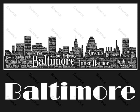 Baltimore Skyline, Baltimore Souvenir, Baltimore Maryland Art 8 x 10 Print
