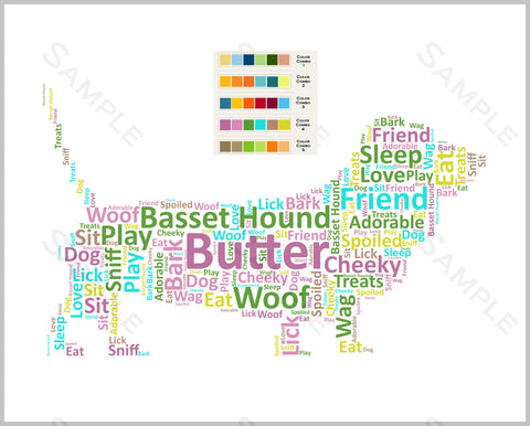 Basset Hound Wordart Dog 8 x 10 Print. Basset Hound Pet Gifts