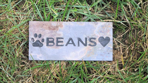 Personalized Pet Memorial Stone Grave Marker w/ Paw Print & Heart 3 x 6 Tumbled Slate Pet Stone Memorial Grave Marker Garden Memorial Stone