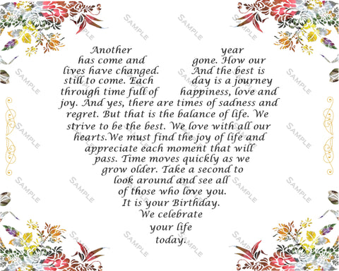30th Birthday Gift Poem Love Floral Print