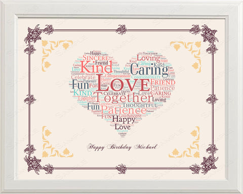 First Birthday Personalized 1st Birthday Gift 1st Birthday Gift First Birthday Gift Ideas 8 x 10 Print First Birthday Word Art Print