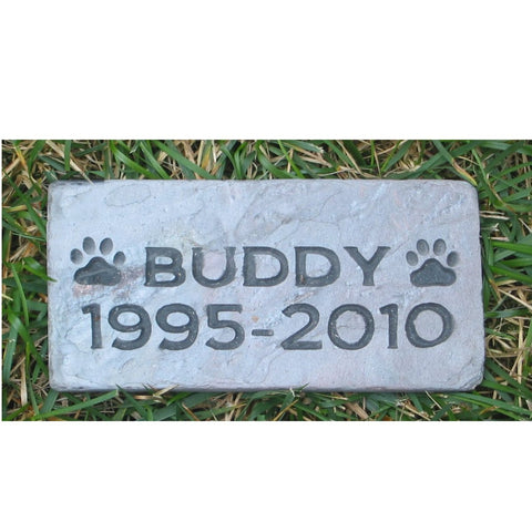 Pet Memorial Gravestone Marker w/ Paw Prints Approx. 3 x 6 Inch Burial Stone