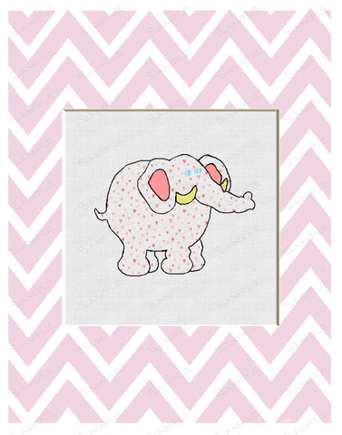 Elephant Chevron Pink Print Wall Art Print Cartoon Elephant Home Decor Wall Art 8 x 10 Print