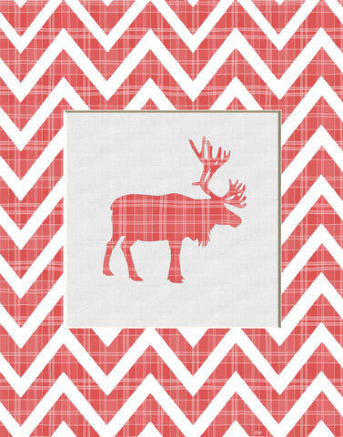 Chevron Moose Wall Art Print. Red Cartoon Moose Home Decor Wall Art 8 x 10 Print