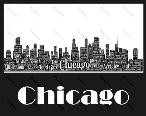 Chicago Skyline, Chicago Souvenir, Chicago Illinois Art 8 x 10 Print