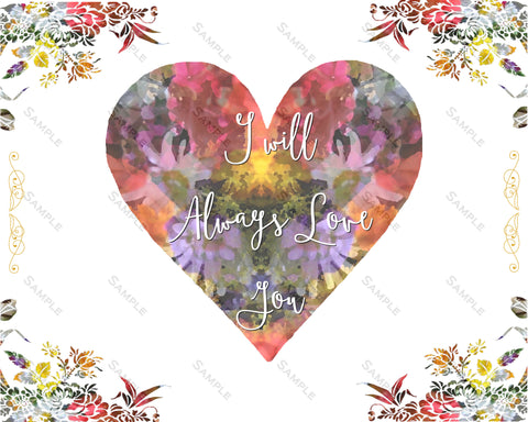 Floral Nursery Print. Floral Nursery Decor I Will Always Love You Print Home Decor 8 x 10 Print