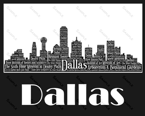 Dallas Skyline, Dallas Souvenir, Dallas Texas Art 8 x 10 Print