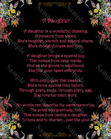 Daughter Love Poem. Gift For Daughter 8 x 10 Print