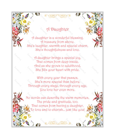 Love Poem for Daughter 8 x 10 Print