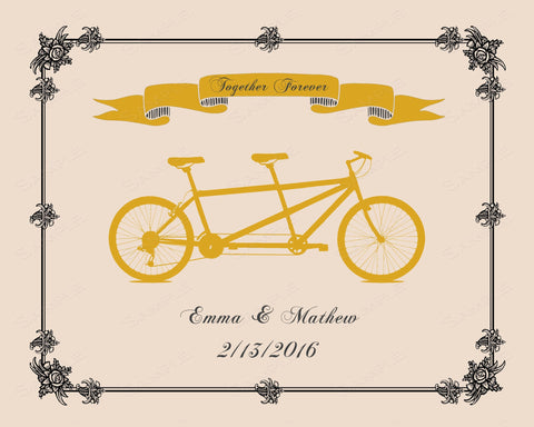Personalized Wedding Gift Engagement Gift Ideas Unique Wedding Gift For Bride and Groom 8 X 10 Print Gold Tandem Bicycle Bridal Shower Gift