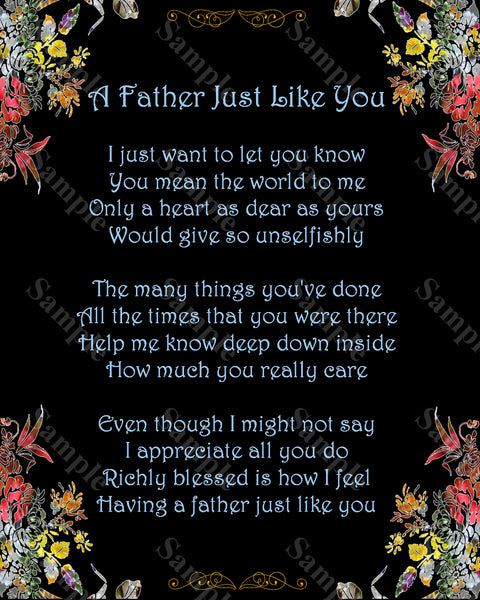 Father's Day Gift A Father Just Like You Poem Gift For Dad