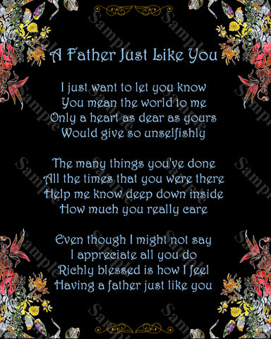 Father's Day Gift. A Father Just Like You Poem Gift For Dad 8 x 10 Print