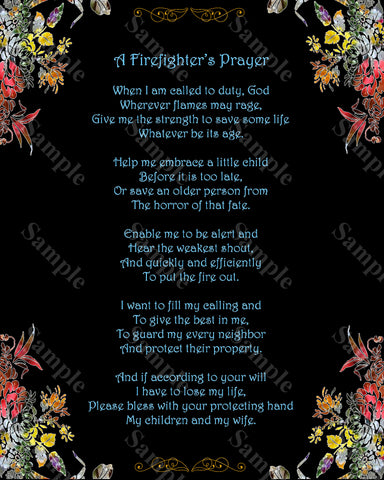 Fireman poem Fireman Prayer Firefighter's Prayer 8 x 10 Print -DesignbyWord.Com