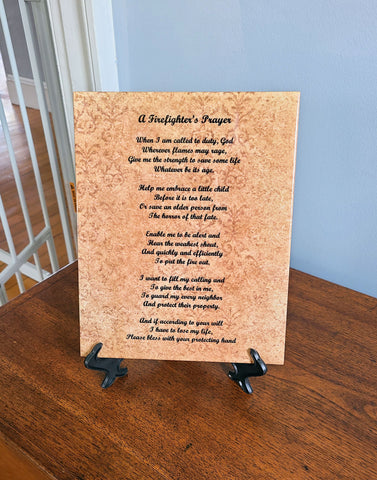 Firefighter's Prayer Poem, Fireman Gifts, Firemen, Gift from Son, Daughter, Wife, Birthday Gifts, Christmas 8 x 10 Ceramic Tile