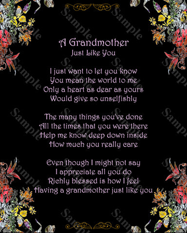 Grandmother Poem A Just Like You Gift For Grandma