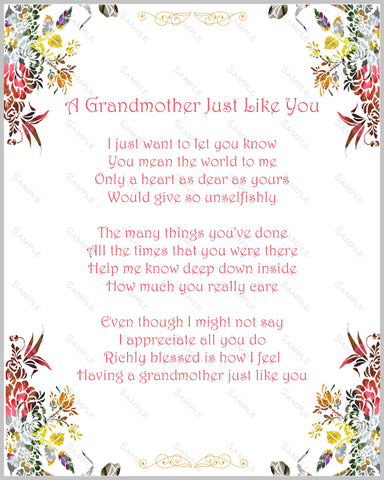 Grandma Gift Poem. Love Poem for Grandmom, Grandmother Gift 8 X 10 Print