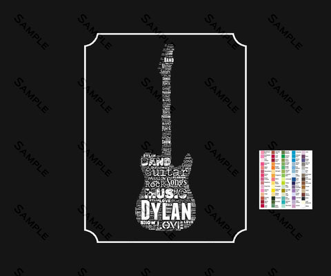 Personalized Electric Guitar Gift Guitar Player Birthday Gift Musician Guitar Player Gifts Guitar Word Art Music Lover 8 x 10 Print