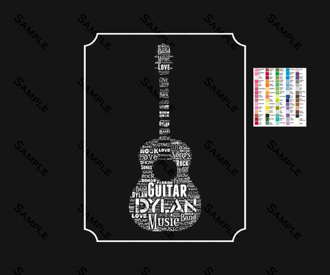 Personalized Guitar Gift Guitar Player Birthday Gift Musician Acoustic Guitar Player Gifts Guitar Word Art Music Lover 8 x 10 Print
