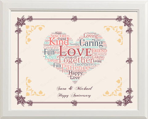 Personalized 40th Anniversary Gift 40th Anniversary Gift Word Art Heart Anniversary Gift Ideas 8 x 10 Print 40th Anniversary Gifts