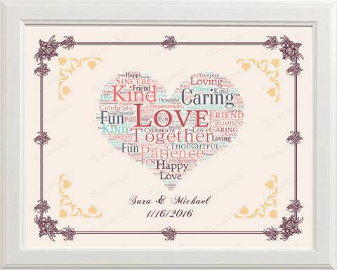 Personalized Engagement Gift Engagement Gift Word Art Heart Wedding Gift Ideas 8 x 10 Print
