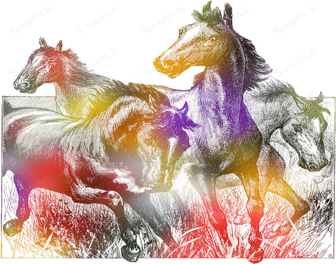 Colorful Geometric Horses Print Wall Art Print Horses Home Decor Wall Art 8 x 10 Print