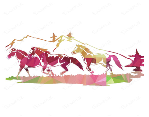 Colorful Geometric Horses Print. Horses Home Decor Wall Art 8 x 10 Print