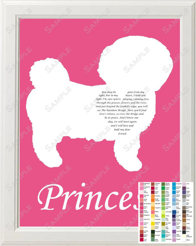 Personalized Bichon Frise Rainbow Bridge Pet Memorial Love Poem Bichon Frise Gift 8 X 10 Bichon Frise Dog Print