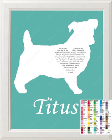 Personalized Jack Russell Terrier Silhouette Jack Russel Rainbow Bridge Pet Memorial Love Poem Gift 8 X 10 Print Jack Russel Pet Memorial