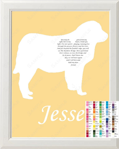 Personalized Great Pyrenees Silhouette Great Pyrenees Rainbow Bridge Pet Memorial Love Poem 8 X 10 Print Great Pyrenees Dog Gift Memorial