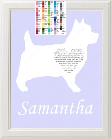 Personalized Cairn Terrier Silhouette Cairn Terrier Rainbow Bridge Pet Memorial Love Poem Gift 8 X 10 Print Cairn Terrier Dog