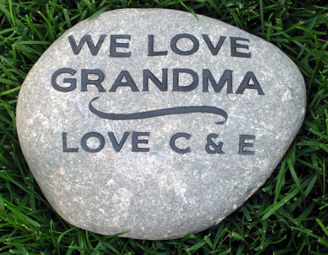 Personalized Mom Grandmom Mother's Day Gift Idea Engraved Stone Gift for 8-9 Inch Stone - Pet Memorial Stones, Personalized Pet Stone Memorial Grave Marker, Dog Memorial, Cat Memorials, Pet Gravestone Markers, Headstone