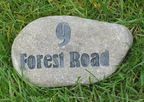 Engraved Address Marker Stone Rock 6-7 Inch Stone Address Street Marker Housewarming Gift Ideas