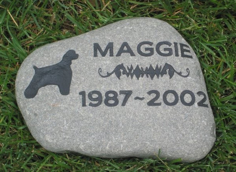 Personalized Pet Memorial Stone Cocker Spaniel 10 -11 Inch Cemetery Burial Memorial Stone Grave Marker & Other Breeds - Pet Memorial Stones, Personalized Pet Stone Memorial Grave Marker, Dog Memorial, Cat Memorials, Pet Gravestone Markers, Headstone