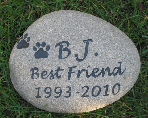 Personalized Pet Stone Memorial Garden Stone 9-10 Inch Grave Marker Stone Memorial - Pet Memorial Stones, Personalized Pet Stone Memorial Grave Marker, Dog Memorial, Cat Memorials, Pet Gravestone Markers, Headstone