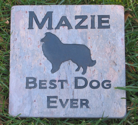 Personalized Pet Memorial Stone Garden Memorial Stone Grave Marker Collie Memorial Burial Cemetery Headstone 6 x 6 Inch & Other Breeds - Pet Memorial Stones, Personalized Pet Stone Memorial Grave Marker, Dog Memorial, Cat Memorials, Pet Gravestone Markers, Headstone