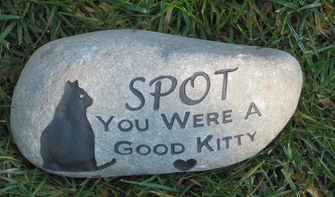 Cat Memorial Stone Memory Stone Grave Stone Headstone Pet Marker 8-9 Inch Cat Memorial Burial Stone Headstone Marker