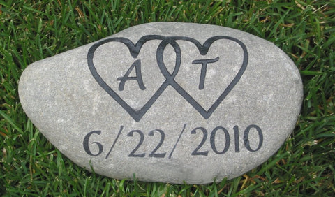Personalized Wedding Oathing Stone 8 - 9 Inches Wide Wedding Stone - Pet Memorial Stones, Personalized Pet Stone Memorial Grave Marker, Dog Memorial, Cat Memorials, Pet Gravestone Markers, Headstone