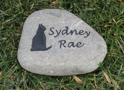 Personalized Cat Memorial Stone Grave Marker 7-8 Inch Pet Stone Memorial Burial Headstone - Pet Memorial Stones, Personalized Pet Stone Memorial Grave Marker, Dog Memorial, Cat Memorials, Pet Gravestone Markers, Headstone