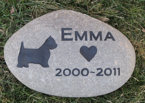 Personalized Pet Stone Memorial Grave Stone Garden Marker Westie 8-9 Inch Memorial Burial Stone Grave Marker & Other Dog Breeds - Pet Memorial Stones, Personalized Pet Stone Memorial Grave Marker, Dog Memorial, Cat Memorials, Pet Gravestone Markers, Headstone