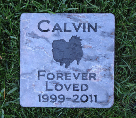Personalized Pomeranian Pet Memorial Stone 6 X 6 Slate Stone - Garden Memorial Burial Stone Maker - Pet Memorial Stones, Personalized Pet Stone Memorial Grave Marker, Dog Memorial, Cat Memorials, Pet Gravestone Markers, Headstone