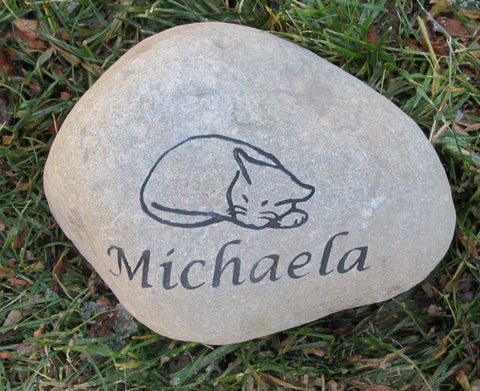Sleeping Cat Memorial Stone Engraved Rock Grave Marker 7-8 Inch Memorial Headstone Burial Cemetery Stone Marker