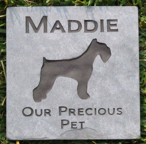 PERSONALIZED Pet Memorial Stone Schnauzer 6 x 6 Inch Memorial Cemetery Burial Stone Grave Marker & other Dog Breeds - Pet Memorial Stones, Personalized Pet Stone Memorial Grave Marker, Dog Memorial, Cat Memorials, Pet Gravestone Markers, Headstone