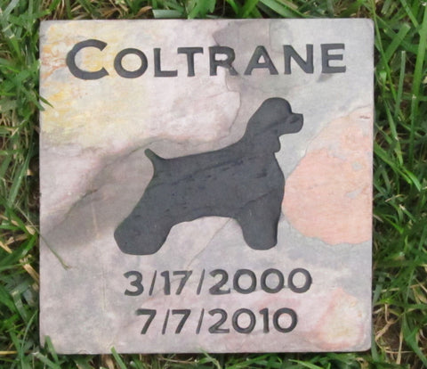 Cocker Spaniel Memorial Stone Cocker Spaniel Memory Stone 6 X 6 Slate Memorial Burial Stone Maker Garden Memorials - Pet Memorial Stones, Personalized Pet Stone Memorial Grave Marker, Dog Memorial, Cat Memorials, Pet Gravestone Markers, Headstone
