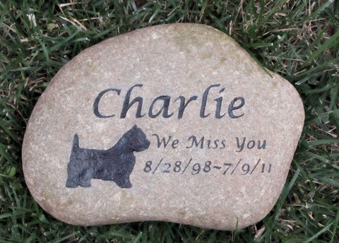 PERSONALIZED Pet Memorial Stone Grave Marker Westie & other Breeds 9-10 Burial Gravestone Marker - Pet Memorial Stones, Personalized Pet Stone Memorial Grave Marker, Dog Memorial, Cat Memorials, Pet Gravestone Markers, Headstone