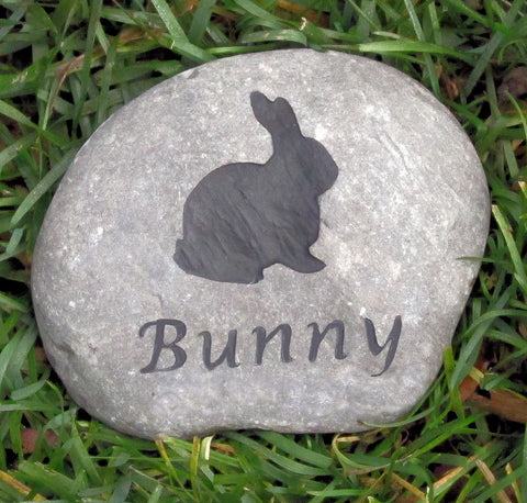 Rabbit Memorial Stone Rock 4-5 Inch Stone Memorial for Bunny Rabbit - Pet Memorial Stones, Personalized Pet Stone Memorial Grave Marker, Dog Memorial, Cat Memorials, Pet Gravestone Markers, Headstone