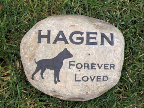 Personalized Stone Pet Garden Memorial Headstone Grave Marker Pitbull Egraved Stone Gift for 8-9 Inch Stone 9 - 10 Inches Cemetery Burial Tombstone Grave Marker Other Breeds Available - Pet Memorial Stones, Personalized Pet Stone Memorial Grave Marker, Dog Memorial, Cat Memorials, Pet Gravestone Markers, Headstone