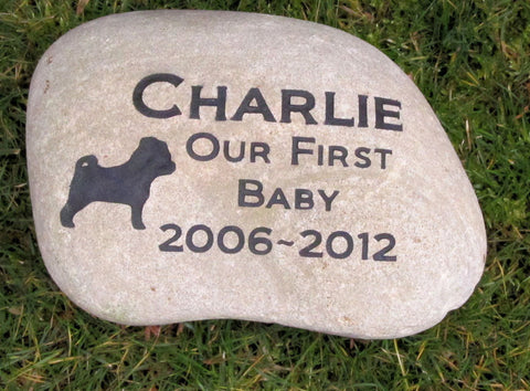 Personalized Pet Memorial Stone Pet Stone Pug Pug Headstone Burial Memorial Stone Marker 9-10 Inch & Other Breeds - Pet Memorial Stones, Personalized Pet Stone Memorial Grave Marker, Dog Memorial, Cat Memorials, Pet Gravestone Markers, Headstone