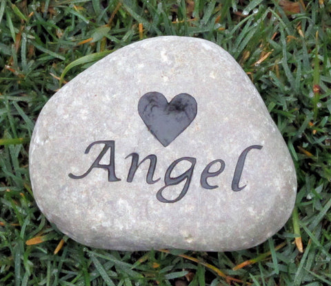 Pet Memorial Stone Engraved Name and Heart 4-5 Inch Memorial Stone Marker
